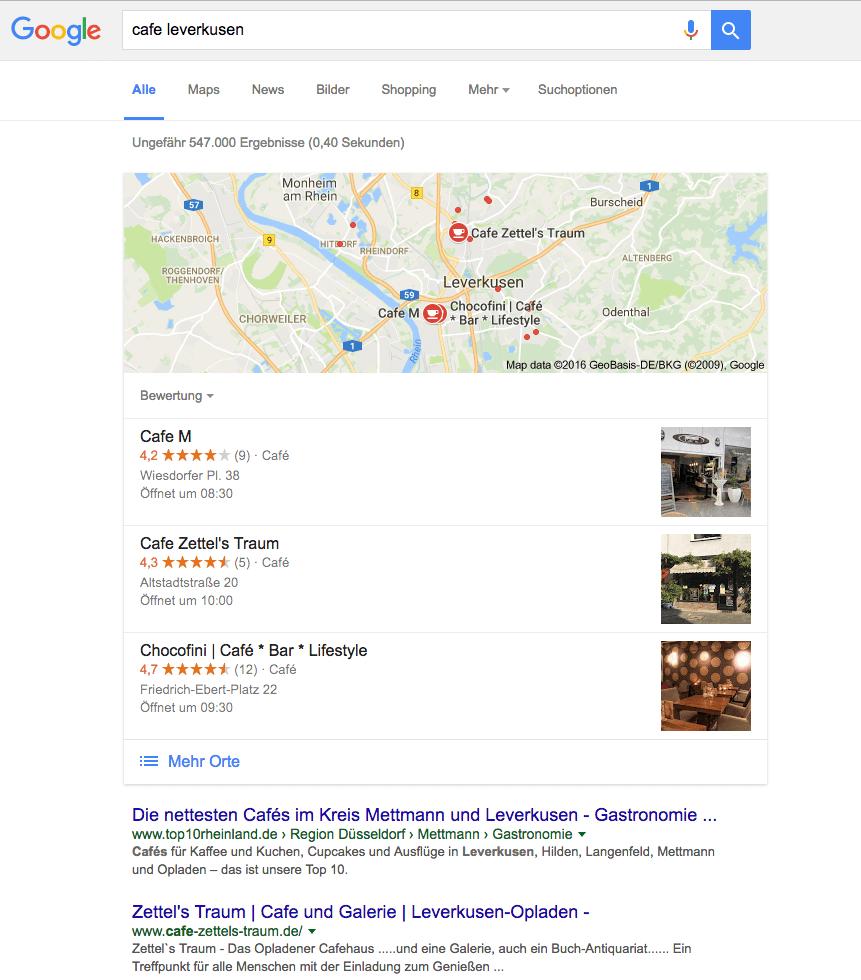 Screenshot von Cafes in Leverkusen Suchergebnis über Google