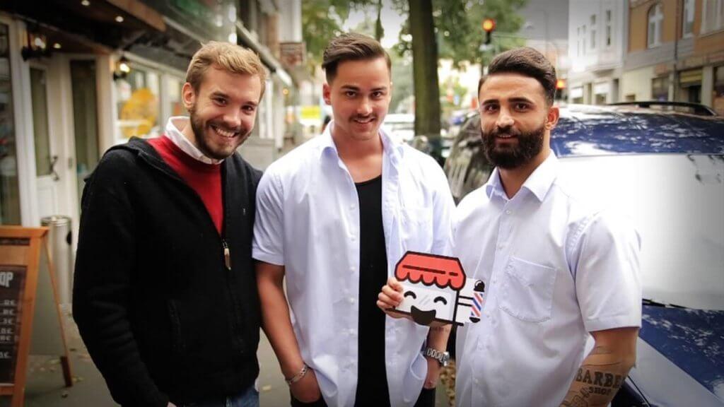 Rene und Samir von Beban Barber Shop und Paul von Prandible bei der Website Challenge
