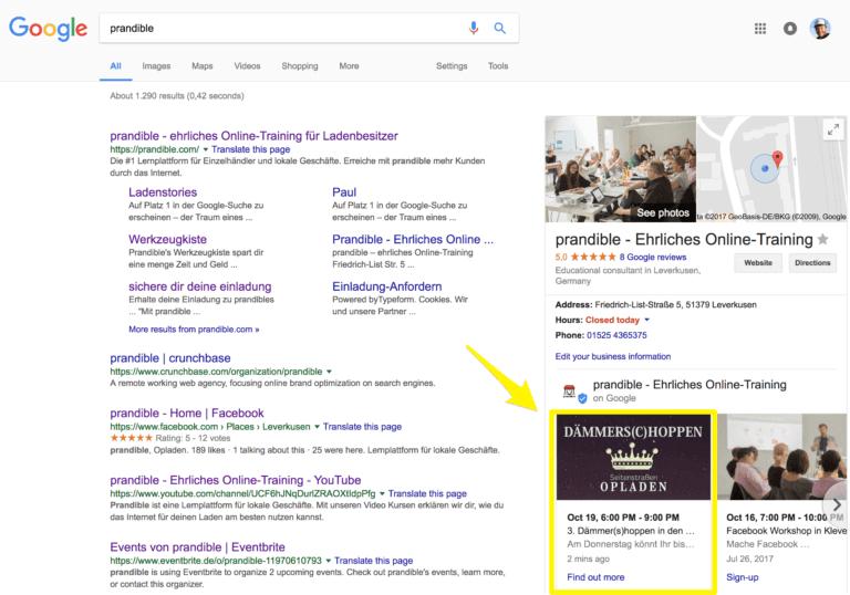Beispiel für einen Google My Business Beiträge am Desktop