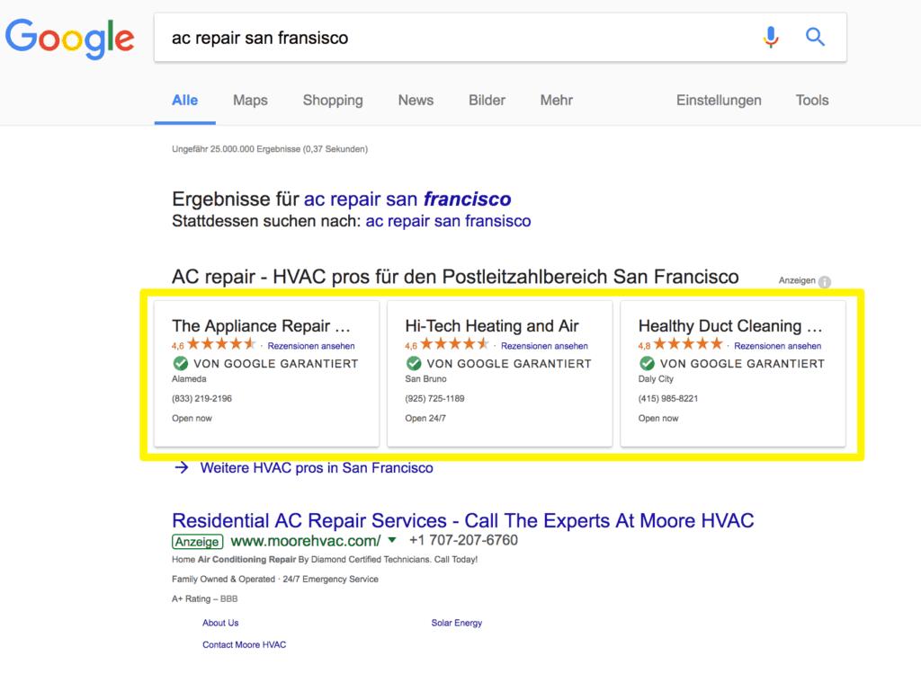 """Bald kommt das """"Google garantierte Dienstleister"""" als Anzeige"""