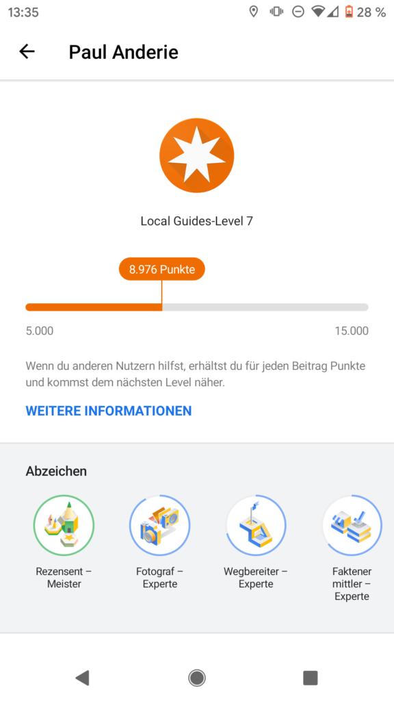 Local Guide Punkte und Abzeichen