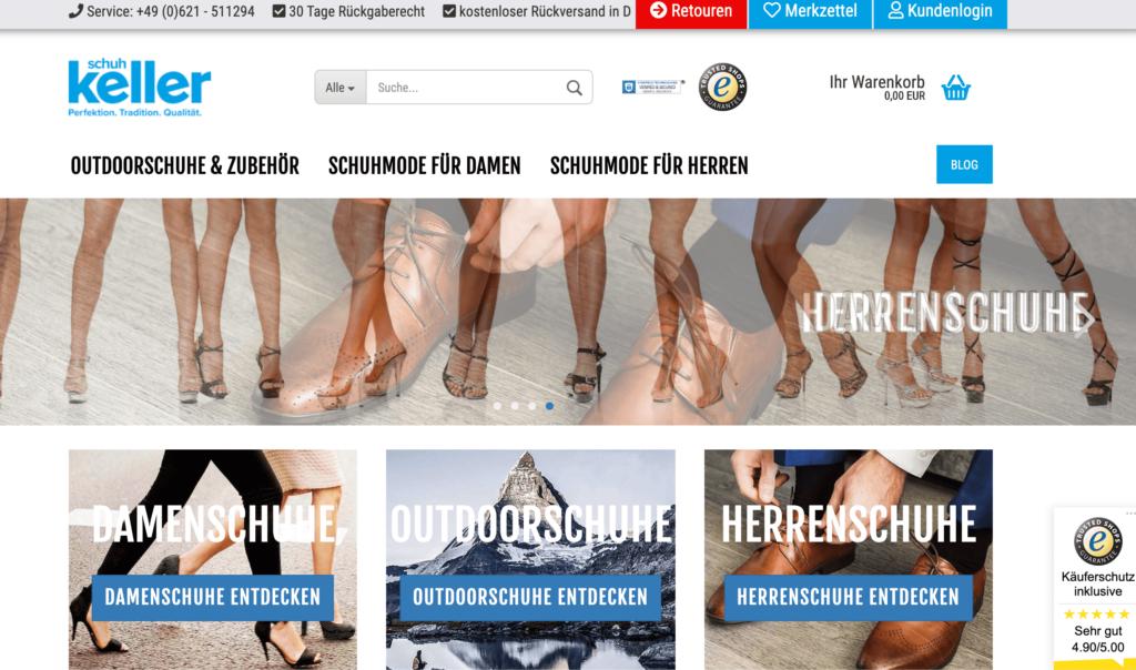 Screenshot vom Online-Shop Schuh-Keller.de