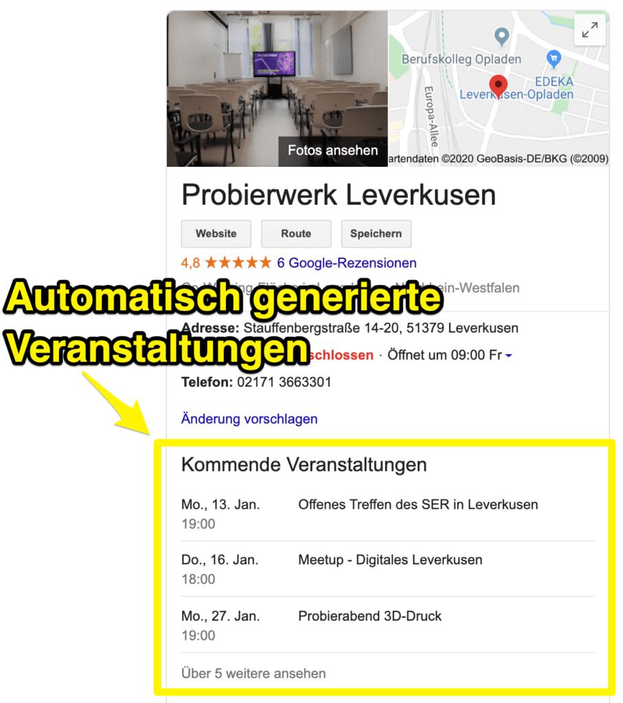 Ansicht von automatisch erstellten Google Veranstaltungen