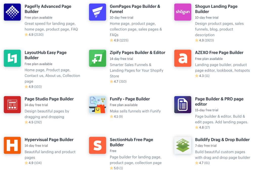 Page Builder Shopify