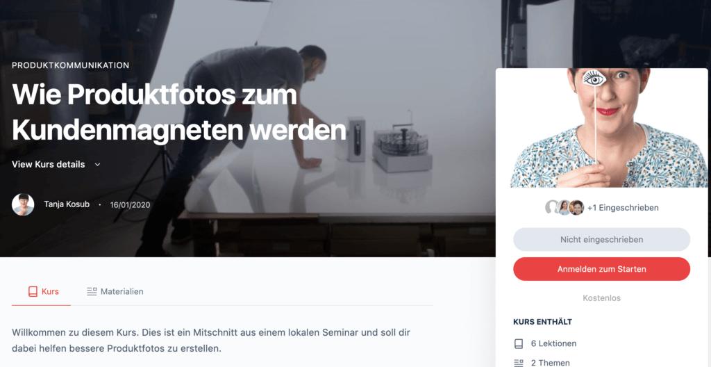 Videokurs zu Produktfotos für Instagram für kleine Unternehmen