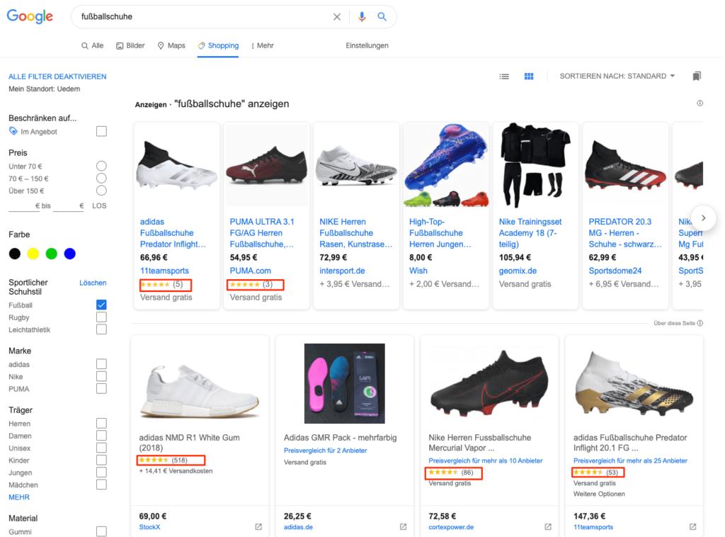 Google-Shopping-Produktbewertung