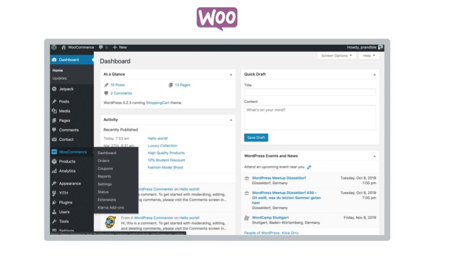 Benutzeroberfläche- WooCommerce